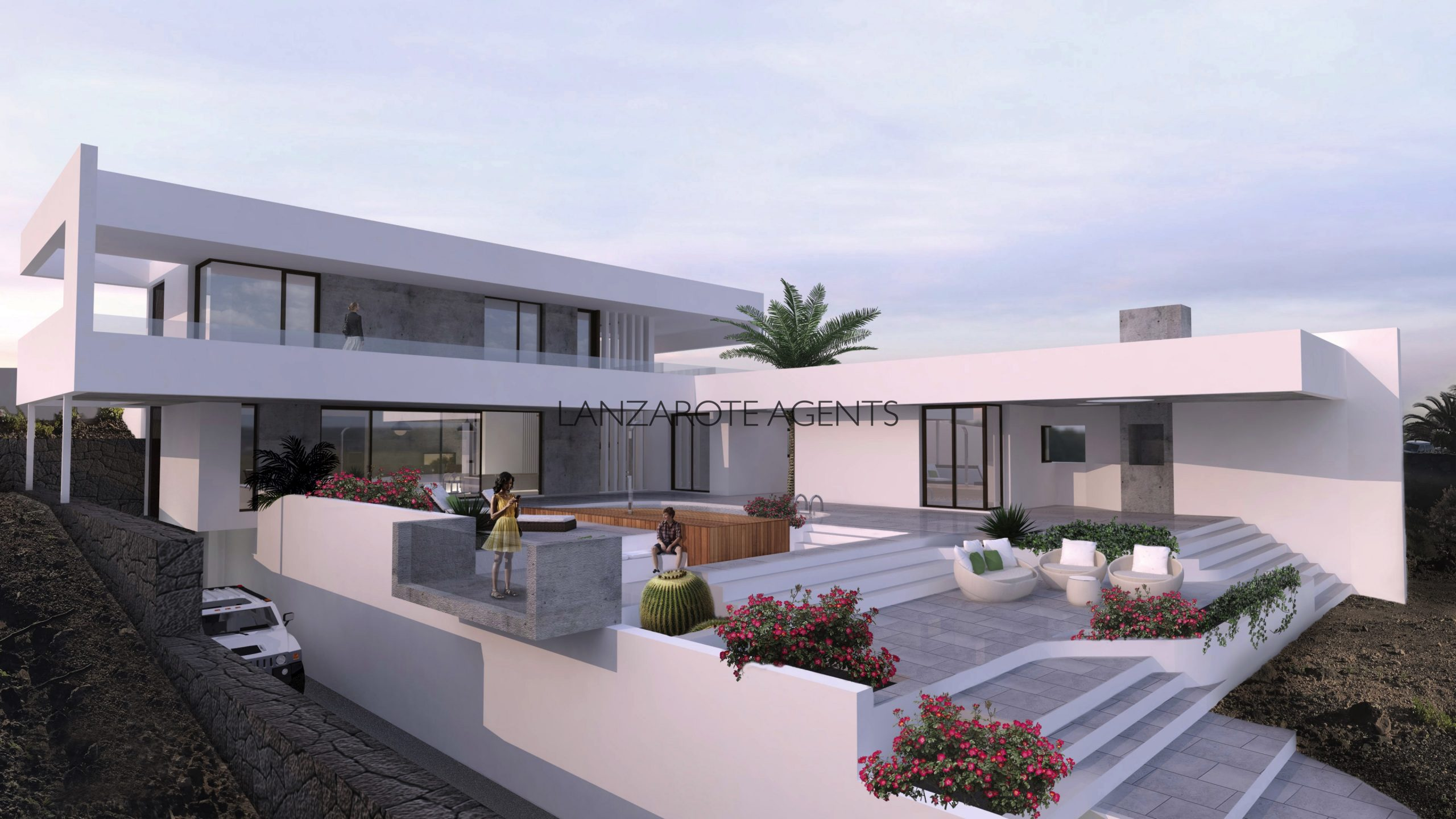 Best Plot of Land in Playa Blanca with Stunning Sea Views and Building License, Architect Project Ready to start Building a Magnificent Modern Villa